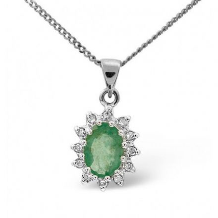 9K White Gold 0.01ct Diamond & 0.80ct Emerald Pendant, E2717